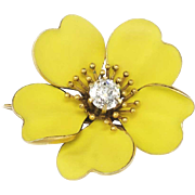 SALE Exquisite 1900's .56ct Old European Cut Diamond Bright Beautiful Buttercup Pin 18k