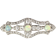 SALE Superb 1930's Opal & Old European Cut Diamond Platinum Brooch Pin Pendant