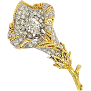 One Of A Kind Estate 3ct t.w. 1990's Diamond Calla Lily Brooch Pin ...