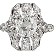 Edwardian 1920's 2.19ct t.w. Old European Cut Diamond Engagement Anniversary Ring Platinum