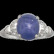 Rare Marcus & Co. 5.76 ct t.w. Lavender Blue Star Sapphire & Diamond Ring Platinum