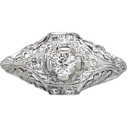 Platinum Edwardian .27ct t.w. Old European Cut Floral Filigree Engagement Ring