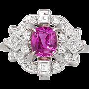 Lovely Retro 1940's 1.92ct t.w. Pink Sapphire & Diamond Ring Platinum