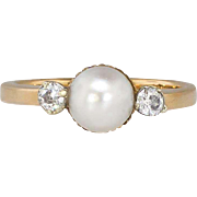 Elegant 1940's Pearl & Old Mine Cut Diamond Swedish Three Stone Ring 18k/SS