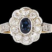 Beautiful 1.54ct t.w. Art Nouveau Old European Cut Diamond & Sapphire Ring 18k