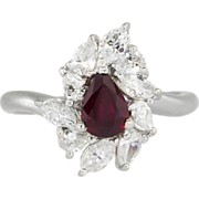 SALE Elegant Estate 1.90ct t.w. Rich Red Ruby & Mixed Cut Diamond Ring ...