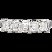 Big Retro 1.10ct t.w. Square Emerald Cut Five Stone Diamond Wedding Band Ring ...