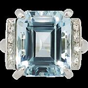 Perfect 9.10ct t.w. 1940's Emerald Cut Aquamarine & Diamond Ring Platinum