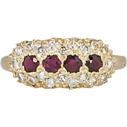 SALE Gorgeous .90ct t.w. Retro 1960's Natural Red Ruby And Diamond Ring 14k