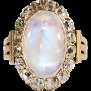 Huge 8.50ct t.w. Breathtaking Antique Cushion Mine Diamond Halo Moonstone Ring 14k