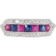 SALE Bright & Beautiful VCA 1ct t.w. Estate Blue Pink Sapphire Filigree Platinum Band Ring