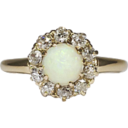 SOLD Lovely 1890's Opal & Old Mine Cut Diamond Halo Ring 14k