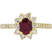 SALE Timeless 1.15ct t.w. Estate Ruby & Diamond Princess Diana Ring 18k