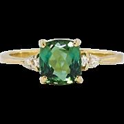Beautiful Estate 1.39ct t.w. Cushion Cut Green Tourmaline & Pear Diamond Three Stone Ring 18k