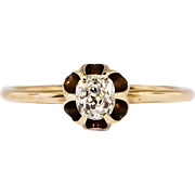 Beautiful .20ct Buttercup Old Mine Cut Diamond Engagement Ring 14k