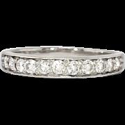 Beautiful Estate .45ct t.w. 11 Diamond Bead Set Wedding Band Ring Platinum