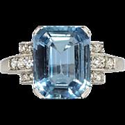 Geometrical Elegance 4.64ct t.w. 1940's Emerald Cut Aquamarine & Diamond Ring Platinum