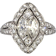 SALE Art Deco 1930's 1.88ct t.w. Marquise & Round Diamond Engagement Anniversary Ring ...