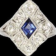 SALE Estate 2.21ct t.w. Sapphire & Old Mine Cut Diamond Art Deco Style Ring 14k