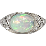 SALE Gorgeous 3ct t.w. 1930's Opal & Diamond Filigree Platinum Ring