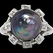 SALE Large 12mm Cultured Tahitian Black Pearl & .08ct t.w. Diamond Sputnik Halo Ring 14k