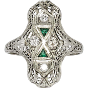 SALE Rare 1930's Art Deco Old European Cut Diamond & Green Emerald Glass Filigree Ring 18k