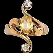 SALE Rare Elegant 1.32ct t.w. Art Nouveau Citrine & Old Mine Cut Diamond Ring 18k
