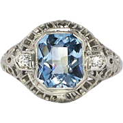 Pretty Art Deco 1.91ct t.w. Blue Spinel & Old Diamond Filigree Ring 14k