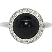 Vintage Art Deco 1930's Round Onyx .10ct t.w. Old Rose Cut Diamond Ring 14k