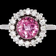 Beautiful 2.40ct t.w. Pink Topaz & Diamond Halo Estate Ring Platinum