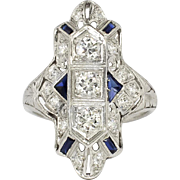 Art Deco 1.09ct t.w. Diamonds & Sapphires Navette Platinum Ring
