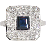Art Deco 1930's 2.30ct t.w. Sapphire & Diamond Halo FIligree Platinum Ring