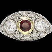 SALE Art Deco 1930's 1.62ct t.w. Ruby & Diamond Filigree Platinum 18k Ring