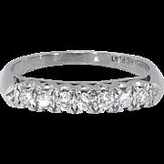 Vintage 1940's .28ct t.w. Seven Diamond Wedding Ring Band Platinum
