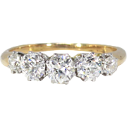 Art Nouveau 1900's 1.16ct t.w. Old European Cut Diamond Five Stone Anniversary ...
