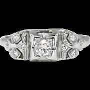 Art Deco 1930's .20ct Unique Old European Cut Diamond 18k Engagement Ring