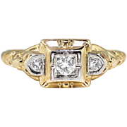 Art Deco 1930's Engagement Ring .10ct t.w. Old European Cut Diamond Engagement Ring ...