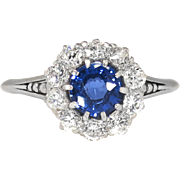 Antique Edwardian 1915 .83ct t.w. Sapphire & Old European Cut Diamond Halo Engagement Ring ...