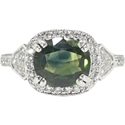 Estate Vintage 2.88ct t.w. Cushion Green Sapphire & Shield Cut Diamond Pave Three Stone ...