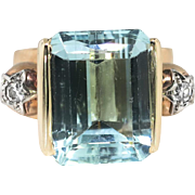 Vintage 1940's 9.71ct t.w. Emerald Cut Aquamarine & Star Set Diamond Ring 14k