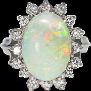 Vintage Estate 1970's 4.29ct t.w. Solid Opal & Old Single Cut Diamond Halo ...