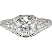 Vintage 1940's .91ct t.w. Old Transitional Cut Diamond Engagement Anniversary Ring Platinum