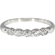 Vintage 1940's .21ct t.w. Five Stone Marquise Single Cut Diamond Wedding Ring Band ...