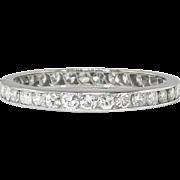 Vintage Art Deco 1930's 1ct t.w. Round Diamond Eternity Stacking Platinum Wedding Band ...