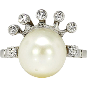 Edwardian 1920's Cultured Akoya Pearl & Diamond Crown Queen Ring 14k White Gold
