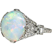 Edwardian 1920's 4.42ct t.w. Natural Opal & Diamond Filigree Platinum Ring