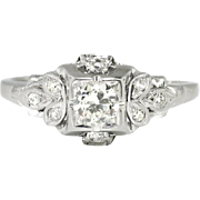 Art Deco 1930's .26ct t.w. Jabel Old European Cut Diamond Engagement Anniversary Ring 18k