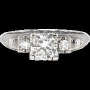 Vintage Retro 1940's .68ct t.w. Old Transitional Cut Diamond Engagement Ring Platinum