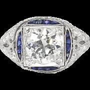 Vintage Art Deco 1930's 2.28ct t.w. Old European Cut Diamond & Sapphire Engagement ...