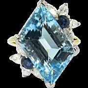 Vintage 1980's 11.67ct t.w. Aquamarine, Diamond & Blue Sapphire Cocktail Ring 18k